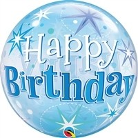 22 inch BUBBLES Happy Birthday Blue Starburs