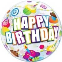 22 inch BUBBLES Happy Birthday Colorful Cupcakes (PKG), Price Per EACH