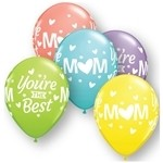 11 inch Qualatex Mom You're the Best Sorbet Assortment, Price Per Bag of 25