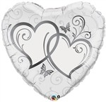 36 inch Entwined Hearts Silver Heart Shape (PKG), Price Per EACH