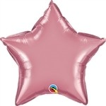 20 inch CHROME MAUVE Qualatex Star Foil Balloon, Price Per EACH