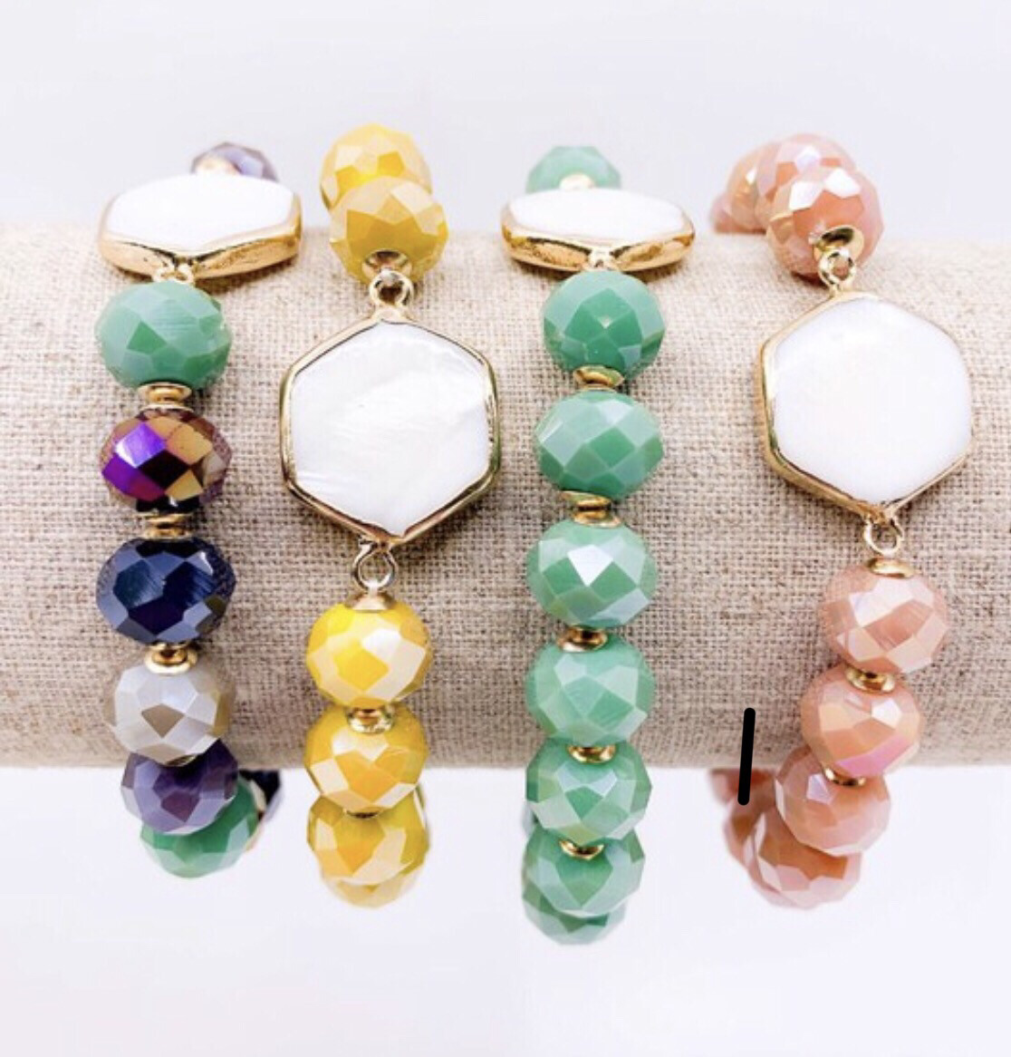 Crystal shell Bracelet Stack