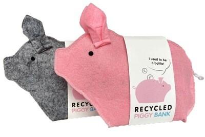 Filz-Sparschwein aus recycelten PET-Flaschen