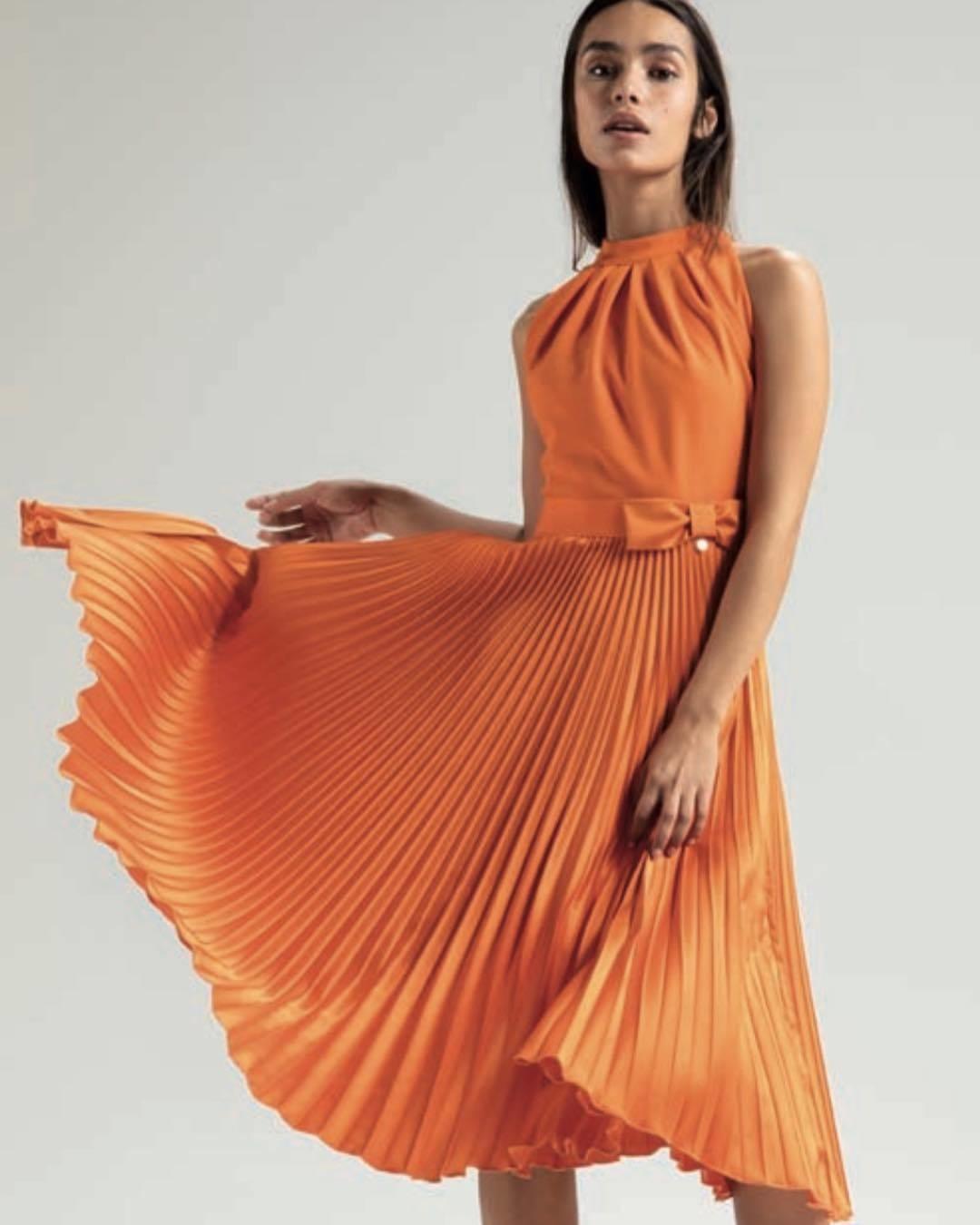 Pumpkin Pleated Dress