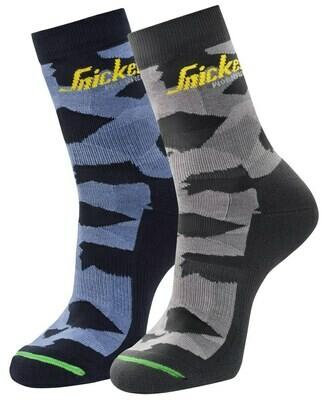 Snickers 9219 FlexiWork, 2-pak Camo Sokken