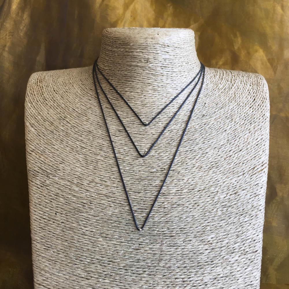 Black Necklace Thong - 40cm