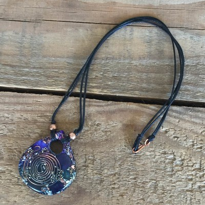 Orgonite Teardrop Pendant - Blue & Purple