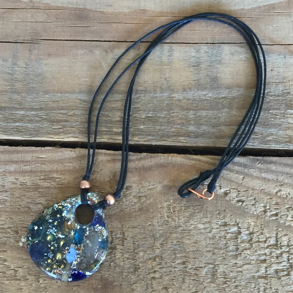 Orgonite Teardrop Pendant - Blue Stones