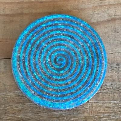 Orgonite Spiral Glitter Coaster - Blue