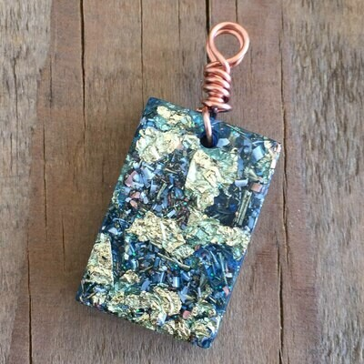 Blue Orgonite Rectangular Mini Pendant