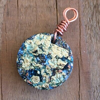 Blue Orgonite Round Mini Pendant