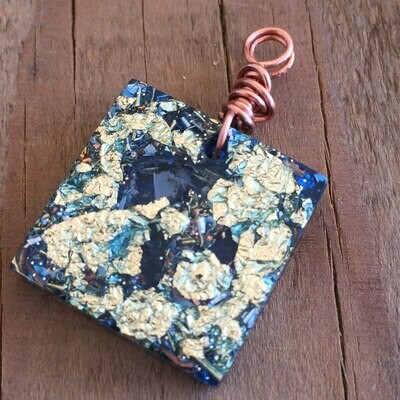 Blue Orgonite Square Mini Pendant
