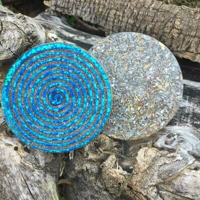 Orgonite Spiral Glitter Coaster - Blue