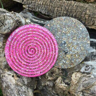 Orgonite Spiral Glitter Coaster - Pink