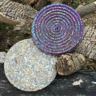 Orgonite Spiral Glitter Coaster - Purple