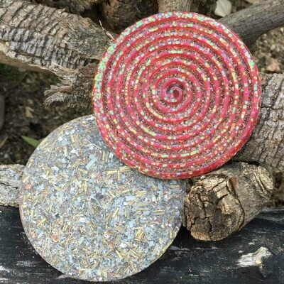 Orgonite Spiral Glitter Coaster - Red
