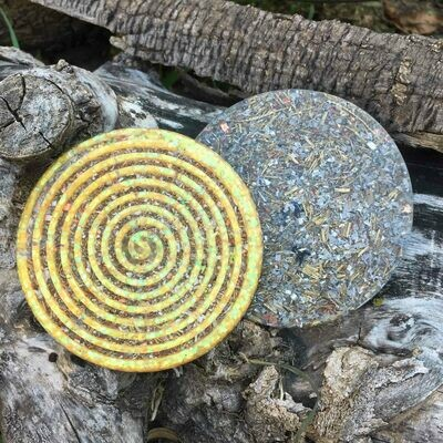 Orgonite Spiral Glitter Coaster - Yellow