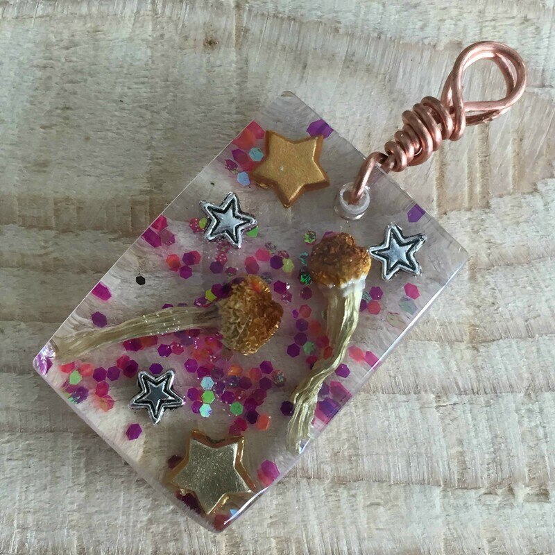 Magical Glitter Rectangular Resin Pendant