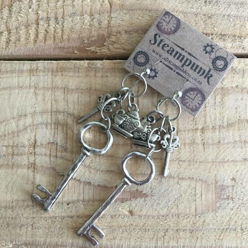 Alice in Wonderland - Antique Silver Key & Teapot Earrings