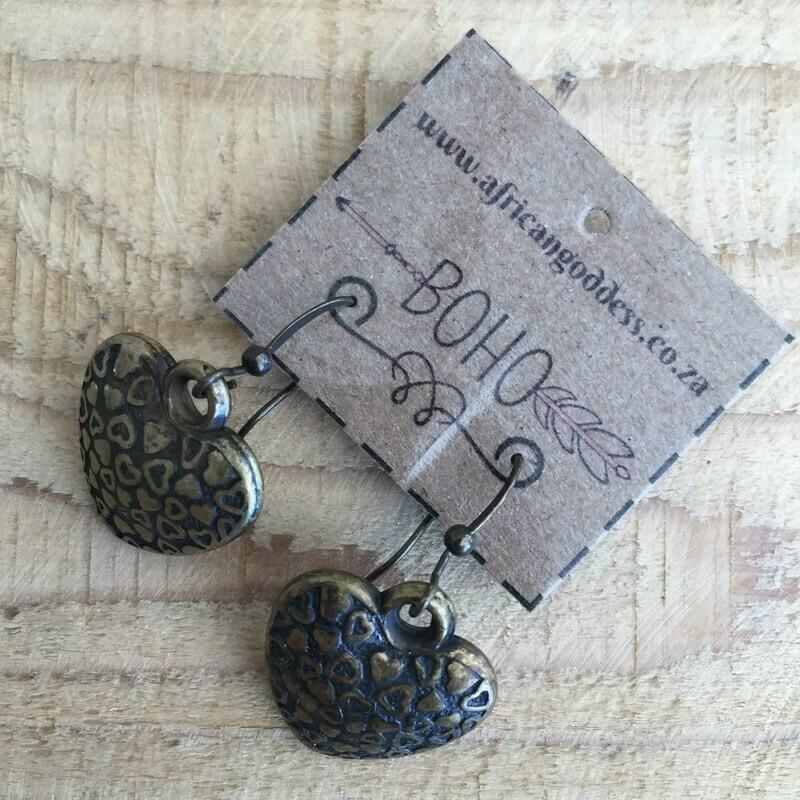 BOHO Antique Brass Heart Earrings