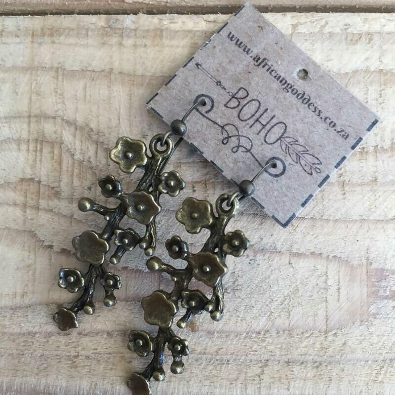 BOHO Antique Brass Blossoming Flower Earrings