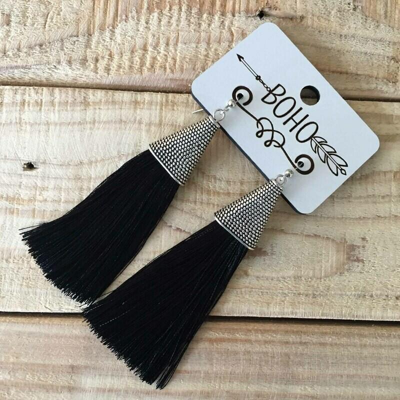 BOHO Tassel Earrings - Black