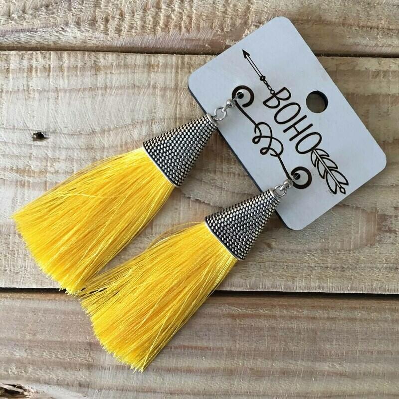 BOHO Tassel Earrings - Canary Yellow