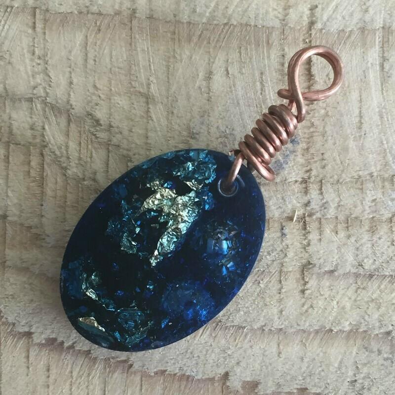 Blue Orgonite Oval Mini Pendant
