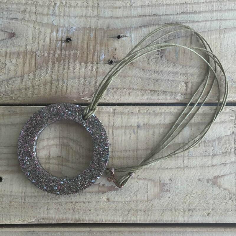 Orgonite Pink Donut Pendant Necklace
