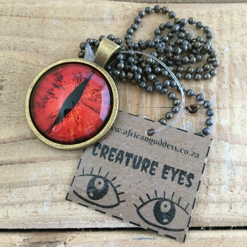 Creature Eye 25mm Pendant Necklace - Red