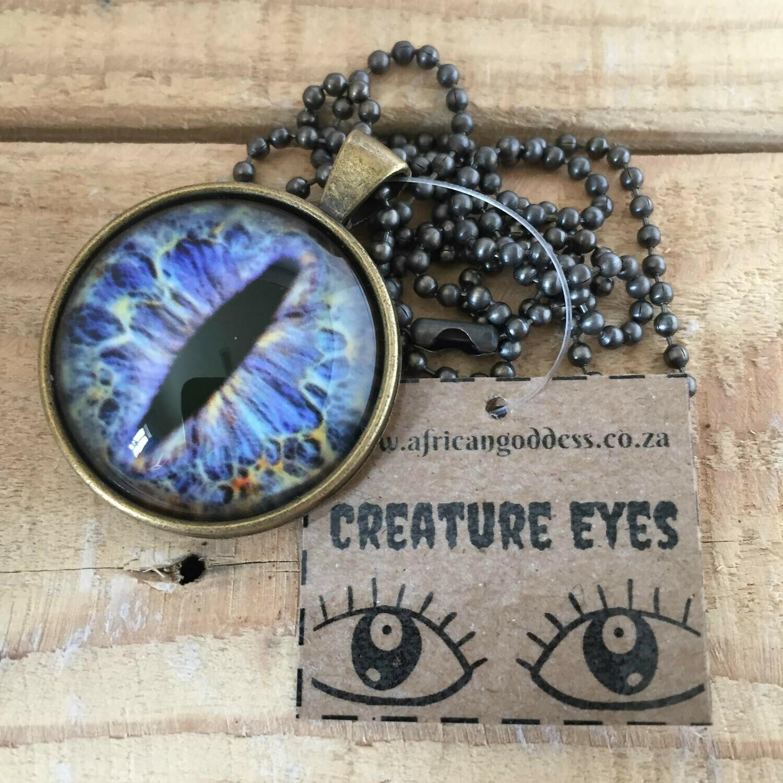 Creature Eye 30mm Pendant Necklace - Blue 1