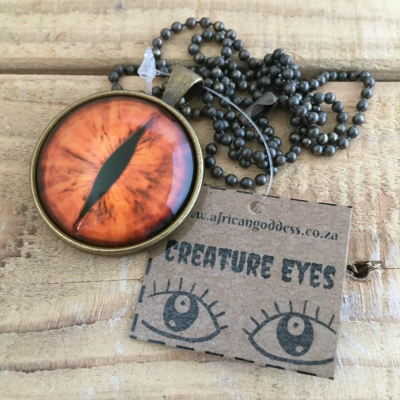 Creature Eye 30mm Pendant Necklace - Yellow