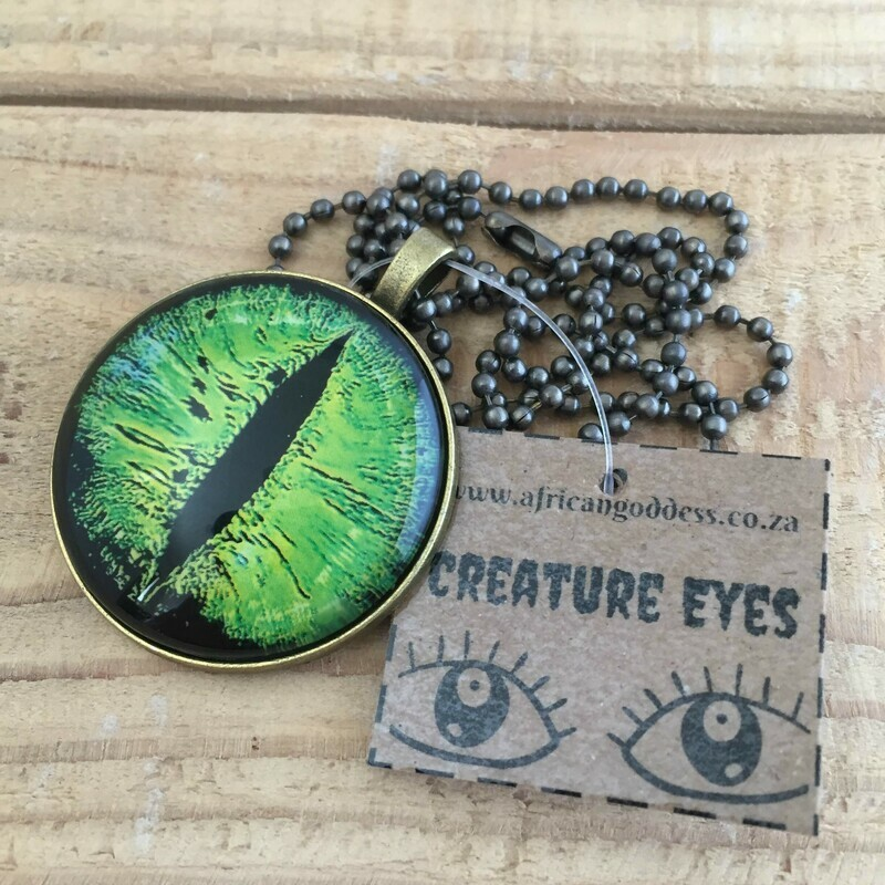 Creature Eye 35mm Pendant Necklace - Bright Green