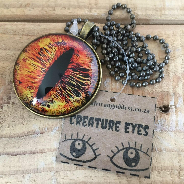 Creature Eye 35mm Pendant Necklace - Yellow