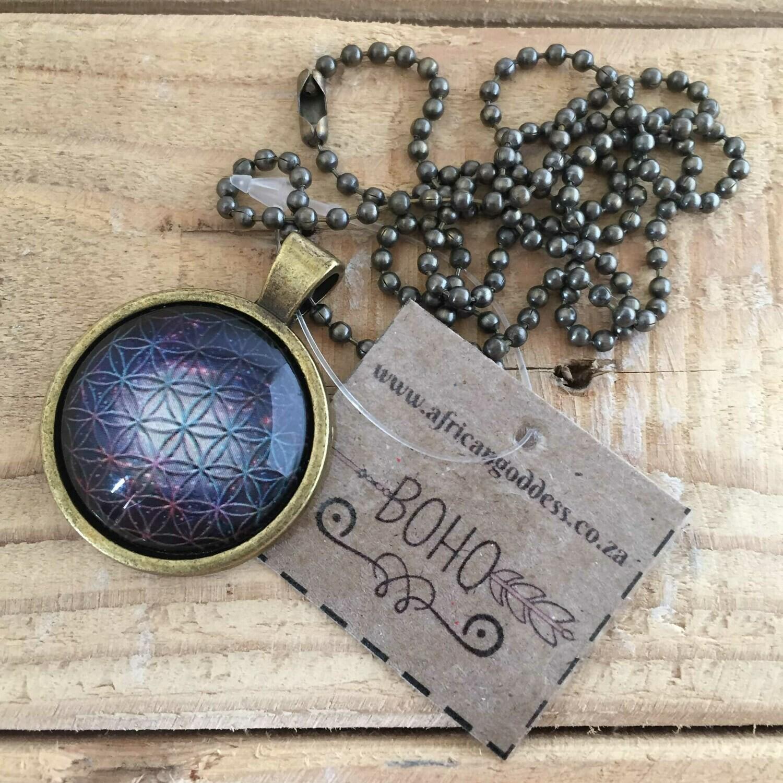 Cosmic Flower of Life 25mm Pendant Necklace - Design B