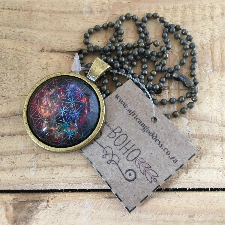 Cosmic Flower of Life 25mm Pendant Necklace - Design C