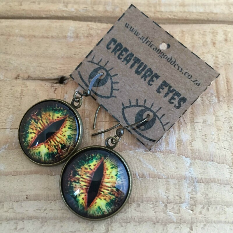 Creature Eye 18mm Dangle Earrings - Green 2