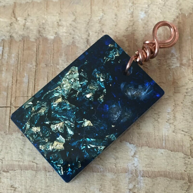 Blue Orgonite Rectangular Mini Pendant