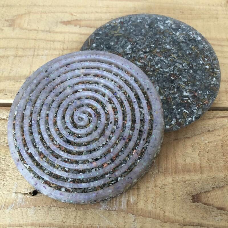 Orgonite Spiral Coaster - Amethyst