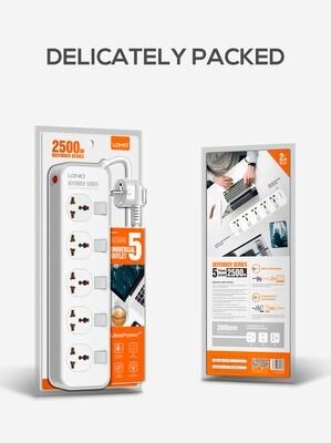 Сетевой фильтр LDNIO 2500W, 5 розеток (EU, US, UK), 2м