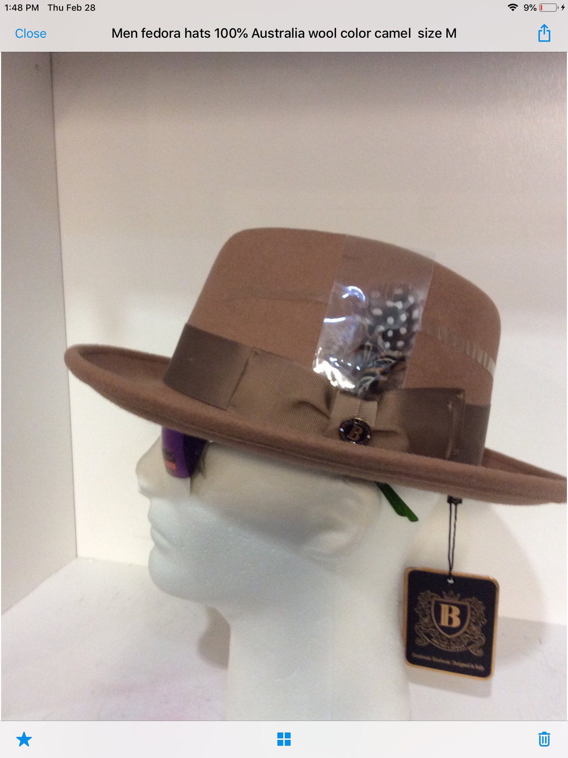 Men fedora hats 100% Australia wool color camel size L Bruno Capelo