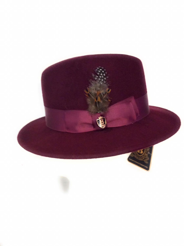 Men fedora hats 100% Australia wool color burgundy    Bruno CAPELO BRAND