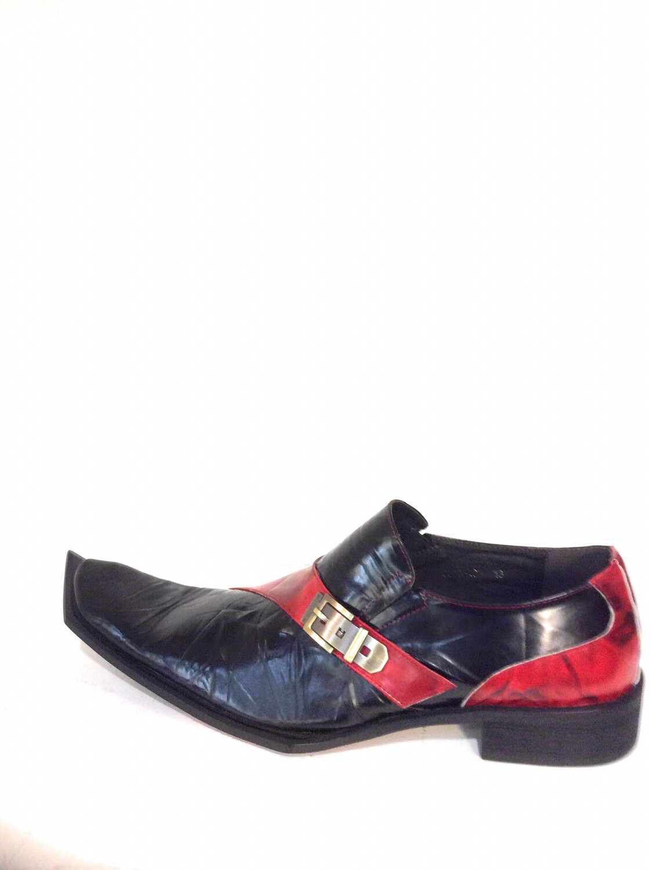Men unique leather shoes zota g838-103 black /red