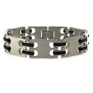 Stainless Steel and Rubber Link Men's Bracelet 8.25""