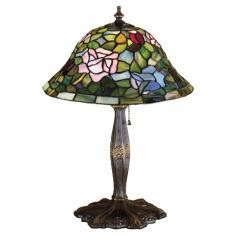 "Art Deco Meyda 17""H Tiffany Rosebush Accent Lamp"