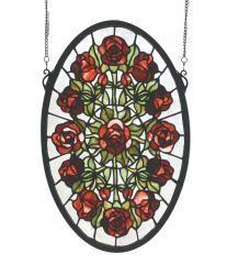 "Decorative 11""W X 17""H Oval Rose Garden Stained Art Glass Window"