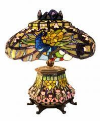 Tiffany-style Peacock Lantern Table Lamp Art Glass
