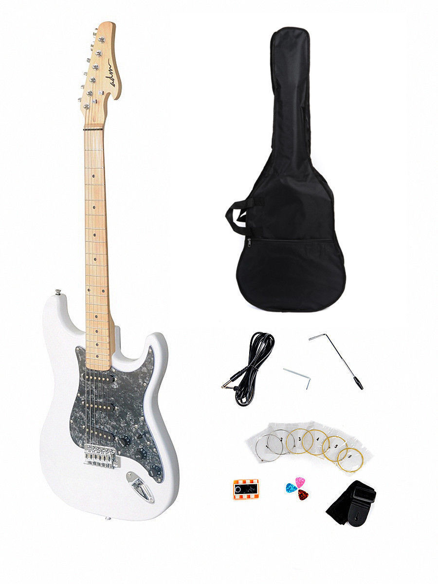 Solid ST Electric Guitar Package with Maple Fingerboard, White Finish