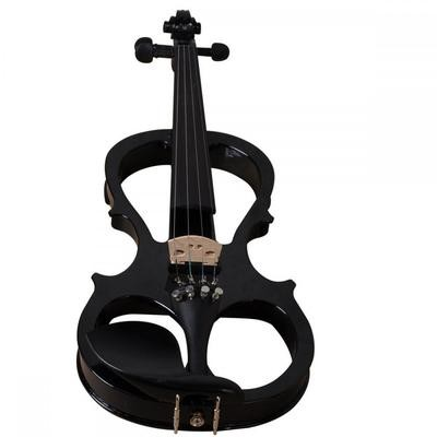 4/4 Full Size Solid Wood Ebony Parts Electric/Silent Violin Outfit, Black Color