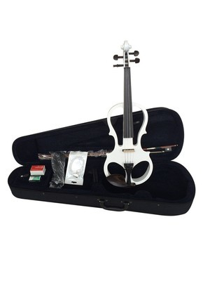 4/4 Full Size Solid Wood Ebony Parts Electric/Silent Violin Outfit, White Color